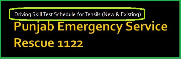 NTS 1122 Driving Skill Test Schedule for Tehsils (New & Existing)
