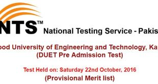 DUET Pre Admission Test result