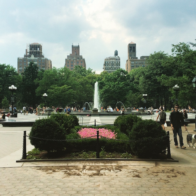 Washington Square Park in the summer
