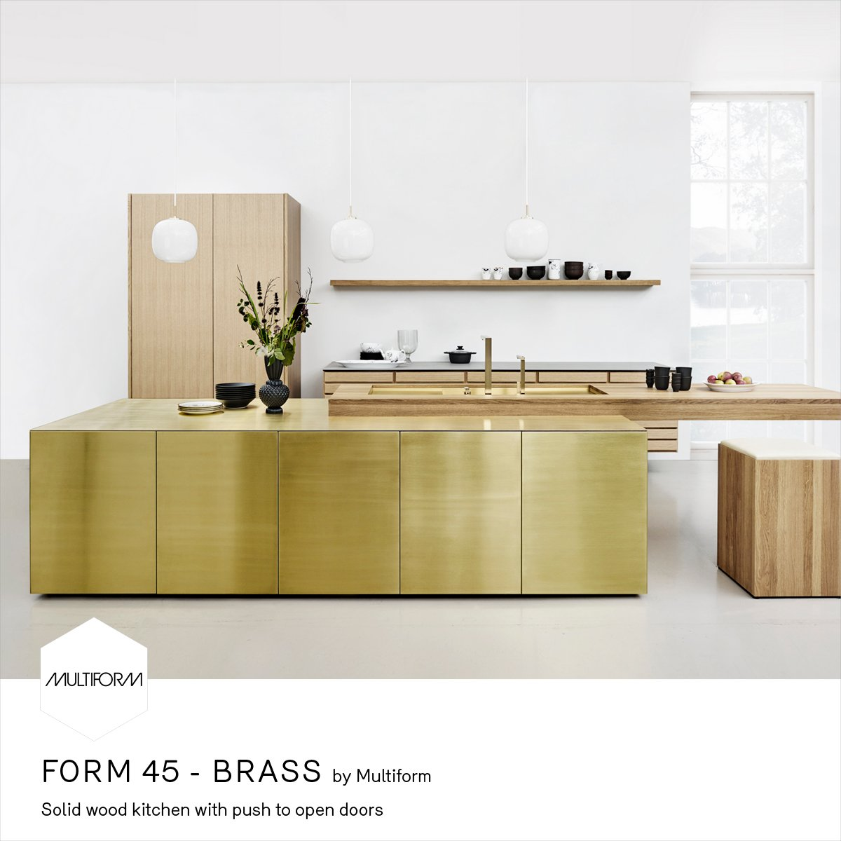 Kitchen Open Door Design Solid Wood Kitchen With Push To Open Doors Form 45 Brass By