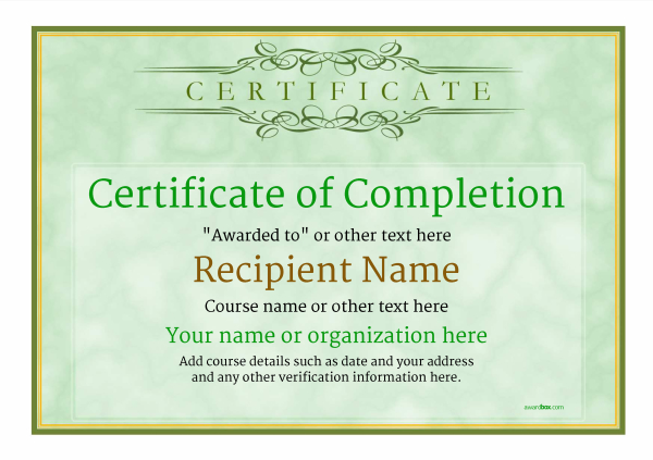 Certificate of Completion - Free Quality Printable Templates - blank certificates of completion