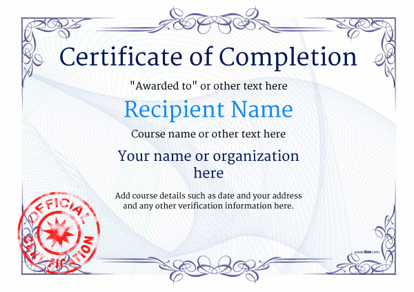 Certificate of Completion - Free Quality Printable Templates - free certificate of completion template