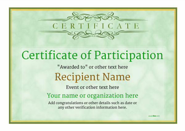 Participation Certificate Templates - Free, Printable, Add badges - certificate of participation free template