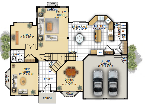 Floor Plan Elevation A Waterford At 114