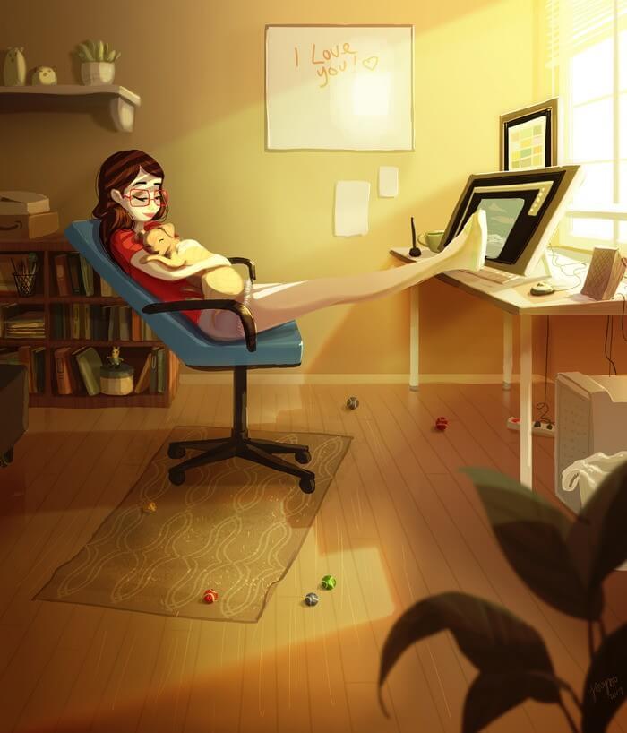 Cartoon Introvert Girl Wallpaper Artista Captura Perfeitamente Como 233 Morar Sozinha Em 37