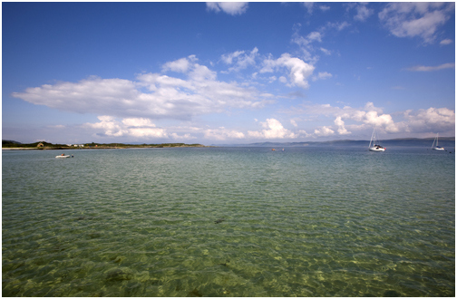 Looking out from Gigha Halibut to the beautiful crystal clear sea.