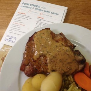 Pork chops with rosemary & ginger wine sauce