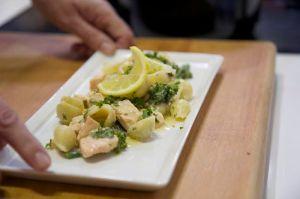 Creamy salmon and broccoli pasta bake