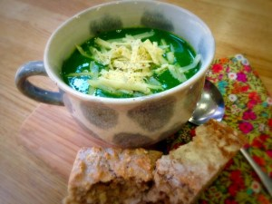 Vibrant, green, spinach,rocket and potato soup.