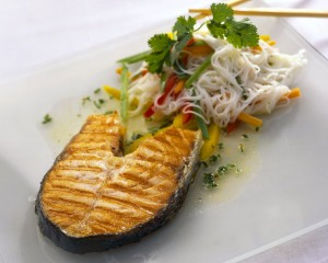 Barbecued Scottish Salmon With Noodles