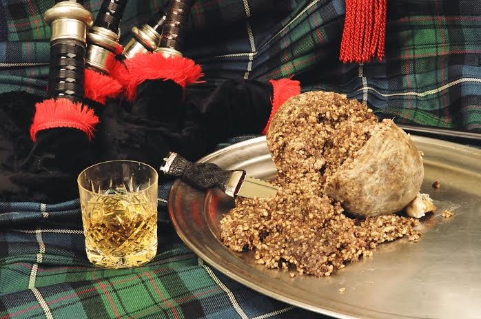 Burns night. Haggis and whisky