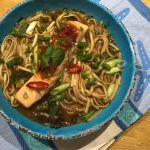 Salmon with miso broth and noodles