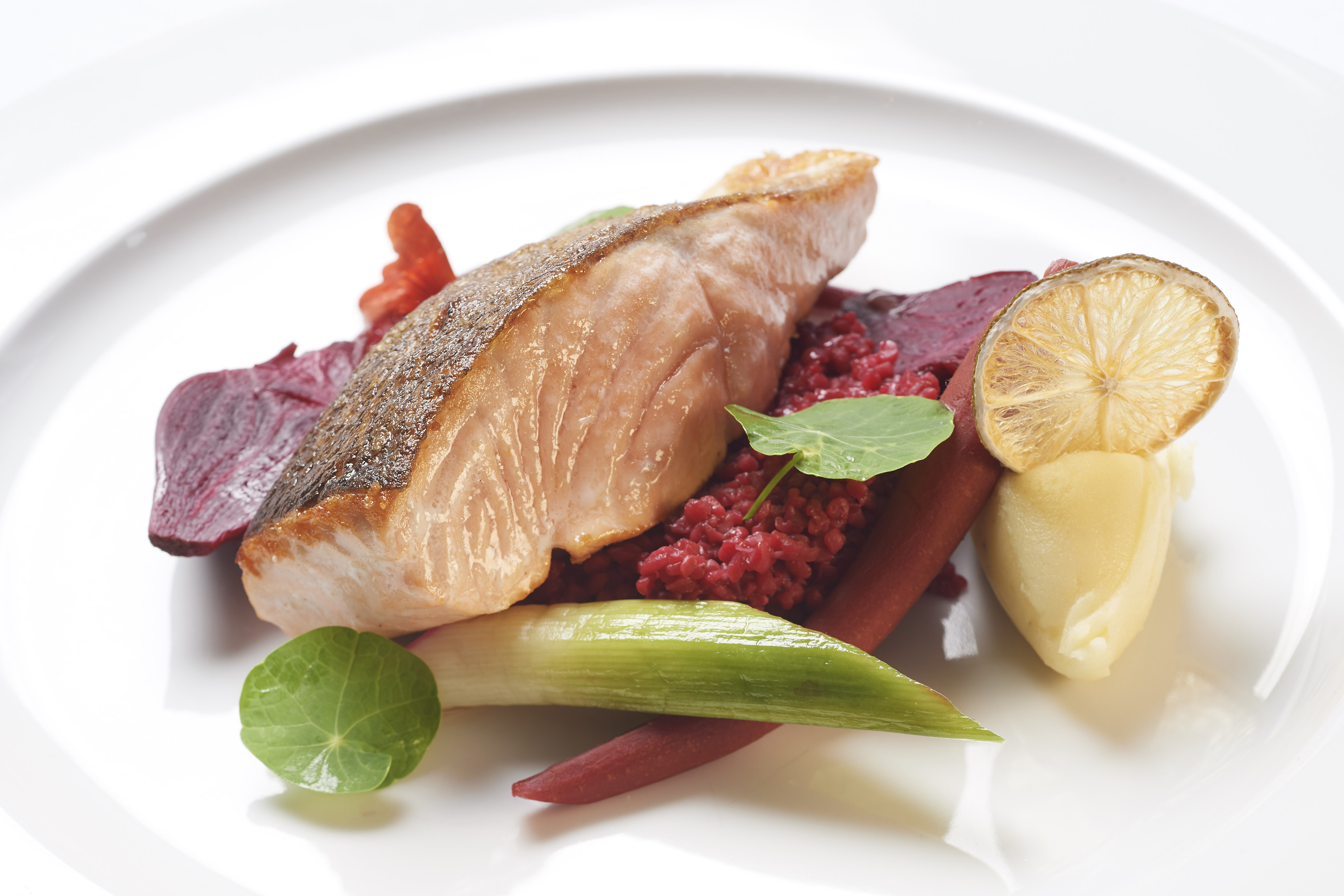 Chef Kat Wardrop - Salmon, beetroot buckwheat, smoked beetroot and lime crisp
