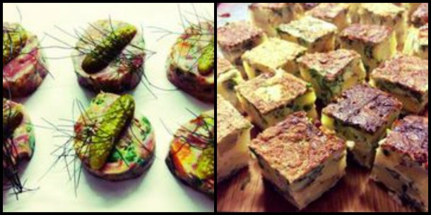 Delicious appetisers of ham hough terrine and tortilla