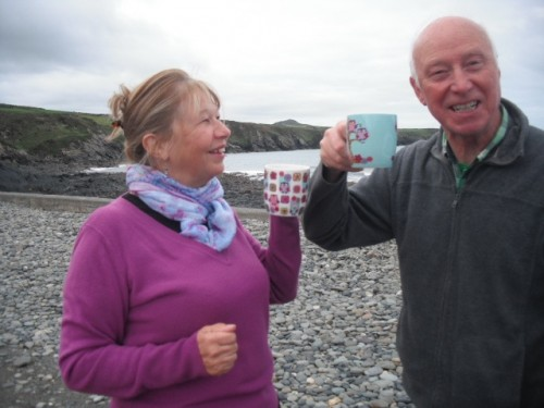 Jan and Rhys toasting their investment in community renewable energy