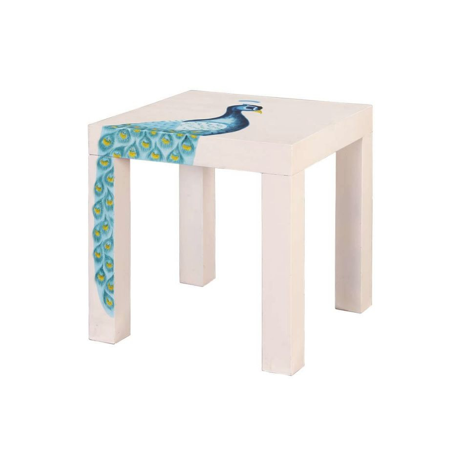 Elegant Peacock Mango Wood Hand Painted 23 Square Accent End Table In Best Of Accent End Tables Awesome Decors