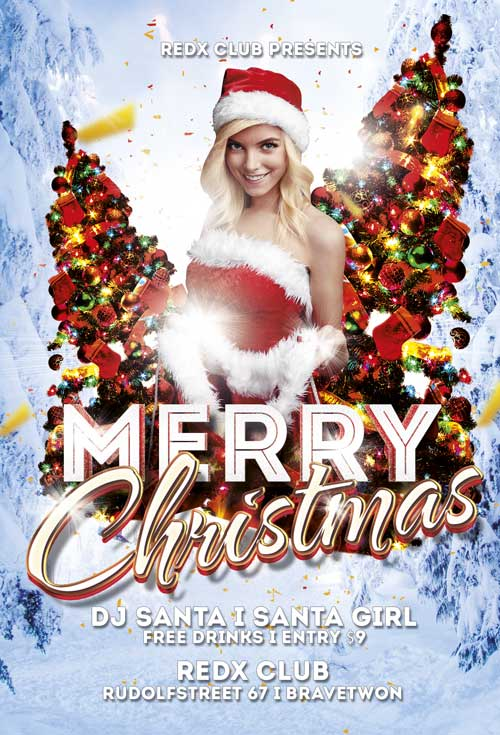 Free Merry Christmas Flyer Template Awesomeflyer