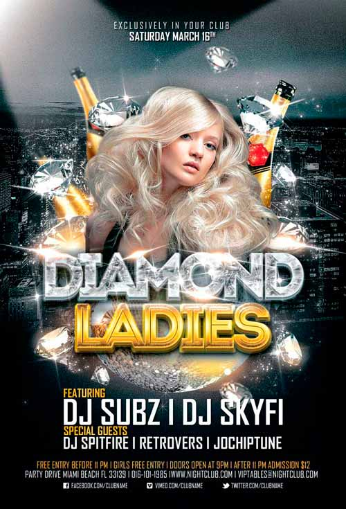 Diamond Ladies Club Flyer Template for Photoshop Awesomeflyer