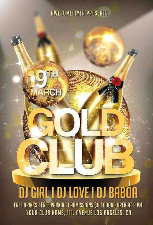 Gold Club Party Flyer Template for Photoshop Awesomeflyer - party brochure template
