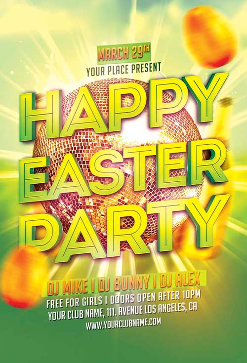 Happy Easter Party Flyer Template for Photoshop Awesomeflyer - easter flyer template