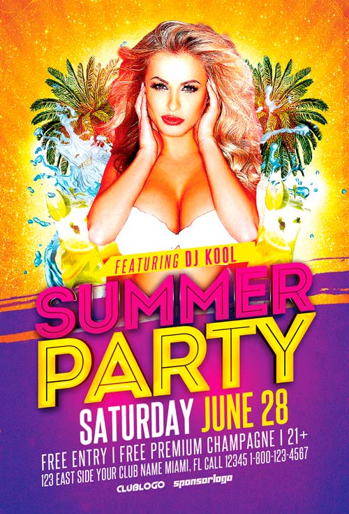 Summer Party Flyer Template Vol3 Awesomeflyer