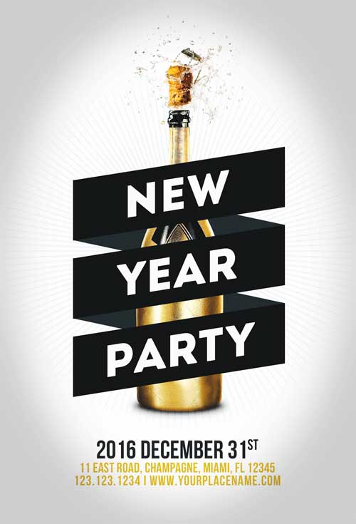 Minimal New Year Party Flyer Template Awesomeflyer