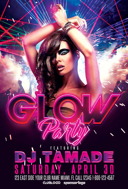 Glow Party and Club Flyer Template Awesomeflyer - club flyer background