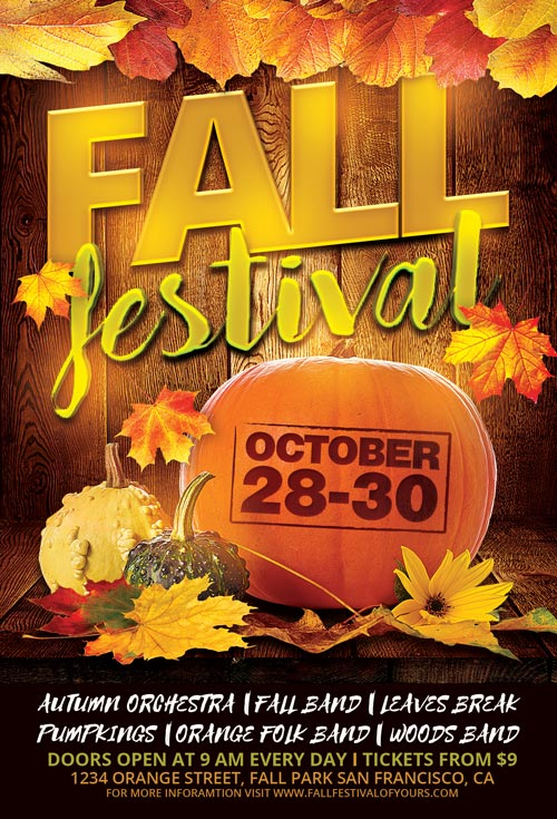 Fall Festival Flyer Template for Photoshop Awesomeflyer - fall festival flyer ideas