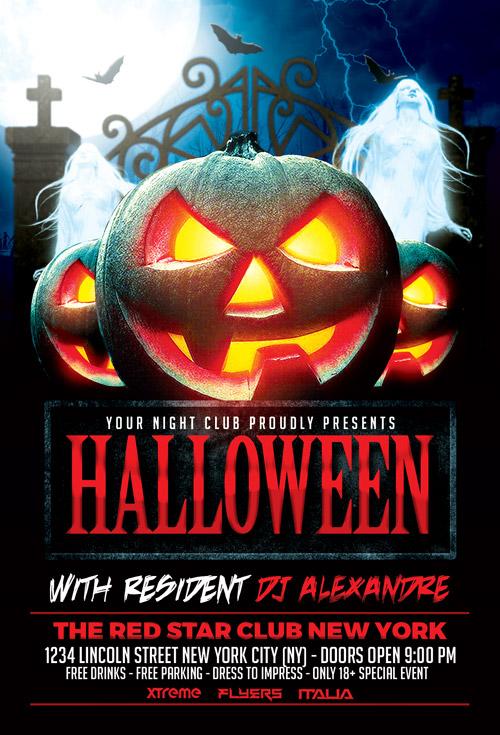 Halloween Nightclub Party Flyer Template Photoshop Awesomeflyer