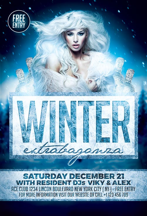 Elegant Winter Party Flyer Template for Photoshop Awesomeflyer