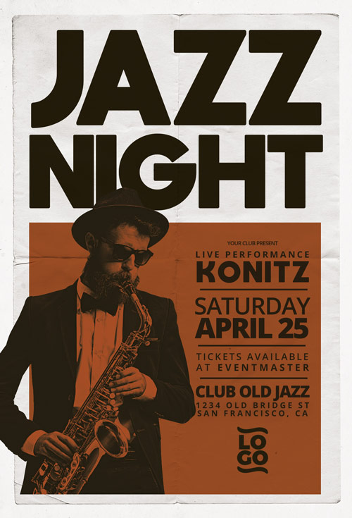 Jazz Concert Music Event Flyer Template for Live Jazz Music Concerts