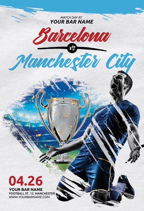 Soccer Match Day Flyer Template - Flyer for Euro Soccer Sport Events