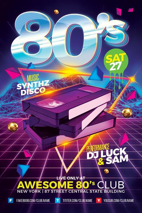 80s Club Flyer Template for your next DJ Club and Party Events