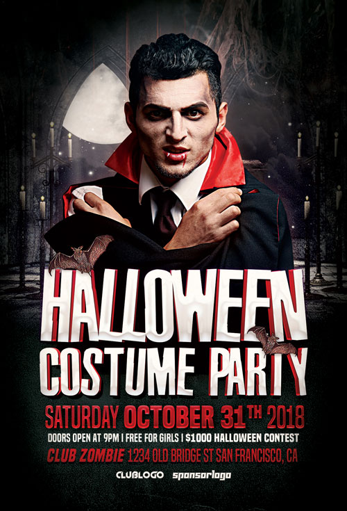 Halloween Costume Party Flyer Template Vol 2 for Halloween Party Events