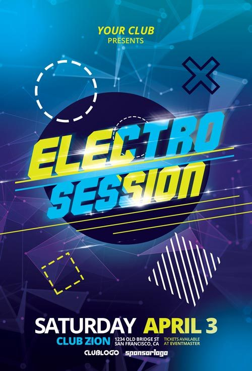 Electro Club Session Free Flyer Template for DJ Parties Awesomeflyer