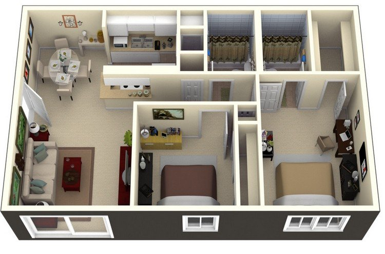 Plan Appartement 60m2 En 3d 19 Awesome 3d Apartment Plans With Two Bedrooms - Part 1
