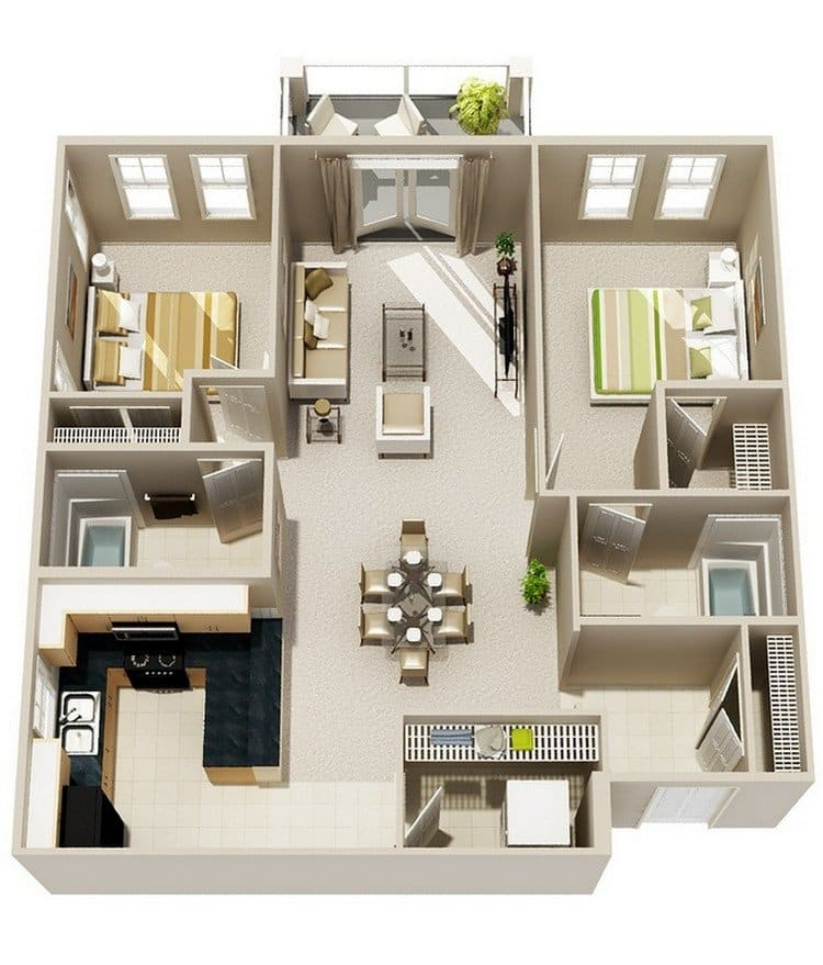 Desain Interior Rumah Type 30 / 60 20 Awesome 3d Apartment Plans With Two Bedrooms - Part 2