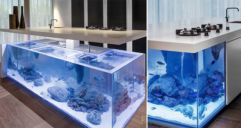 This Kitchen Island Doubles Up As A Giant Aquarium