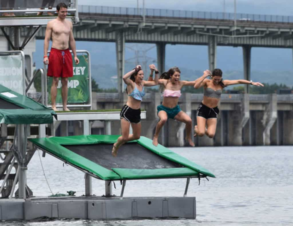 Buy Trampoline Brisbane This 39tarzan Boat 39 Is The Ultimate Floating Water Park