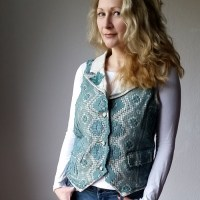 the diy upcycled refashioned crocheted vest