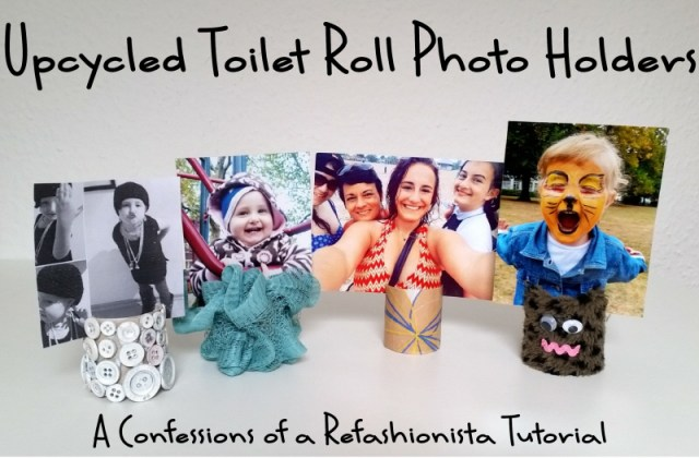 Upcycled toilet roll photo holders