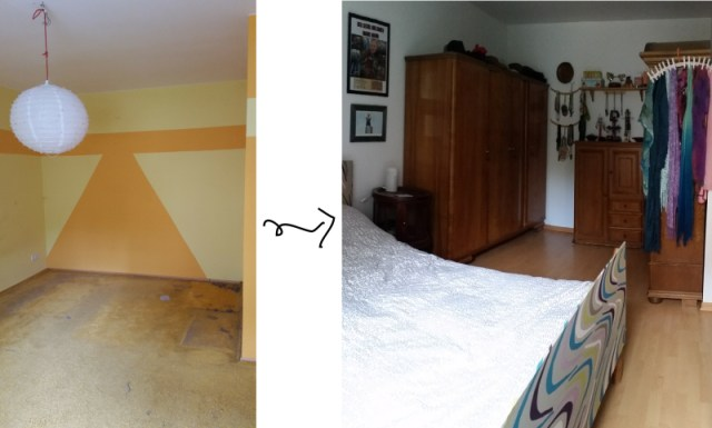 upcycled vintage diy bedroom before & after