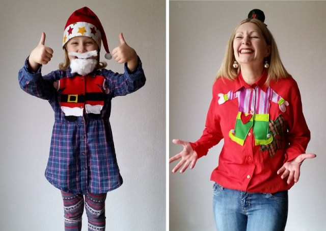 DIY upcycled christmas blouse refashion tutorial