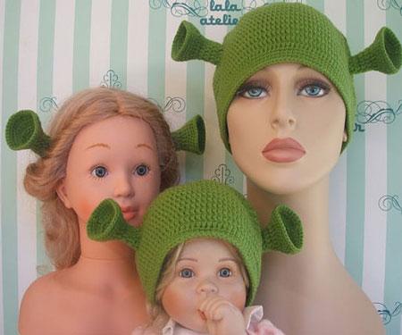 Crocheted Ogre Family Shrek Hats