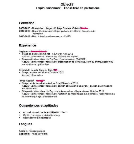 parfumerie interet cv