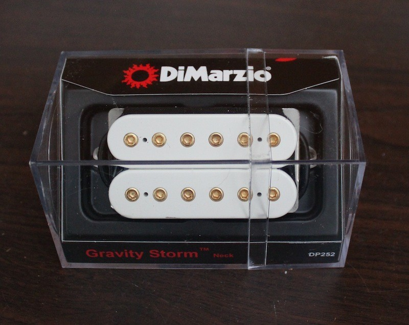 DiMarzio Gravity Storm Neck Pickup DP252 White w/ Gold Poles The