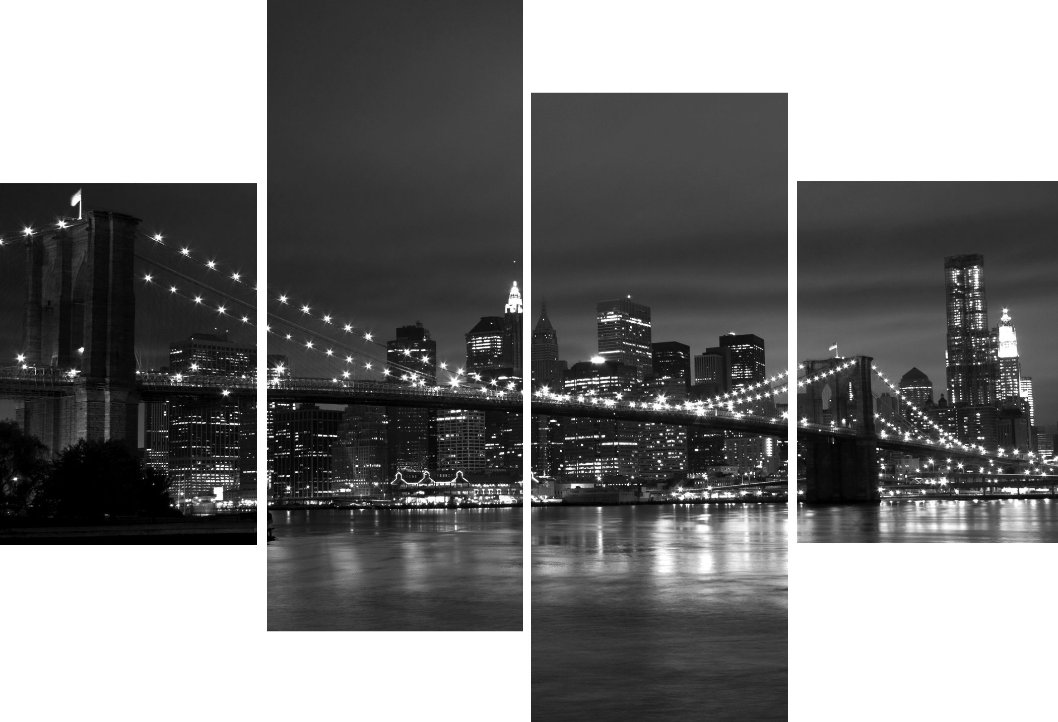 Black And White Canvas Pictures Large 4 Panel Multi Set New York City Bridge Black And White