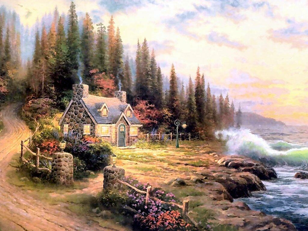 Live Moving Fall Wallpaper For Pc Pine Cove Cottage Thomas Kincade Wallpaper Image