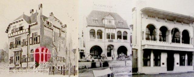 "Foto 3: kiri desain E. Cuypers tahun 1902 yang mencomot bentuk lengkung dan pilar hiasan khas Berlage. Foto kiri dari essay Helen Searing ""Cuypers or Berlage, the Father of Them All?"""