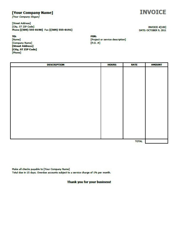Microsoft Office Invoice Templates For Excel - mandegarinfo